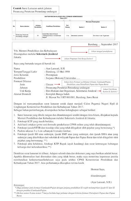 Contoh Terbaru Surat Lamaran CPNS Kemendikbud Tahun 2017