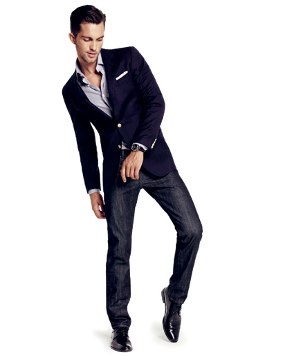 What To Wear Navy Blazer W Gold Buttons Grey Button Up Shirt