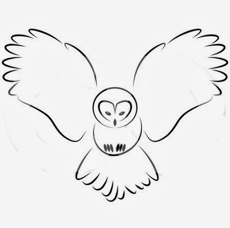 Owl flying tattoo stencil