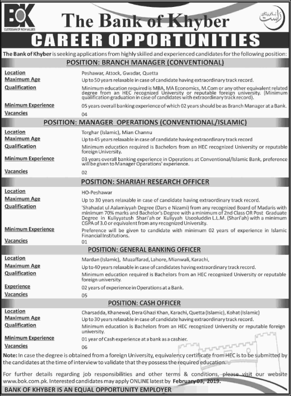 Advertisement for the Bank of Khyber Jobs