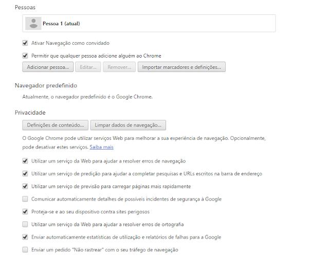 Chrome definições de conteúdo
