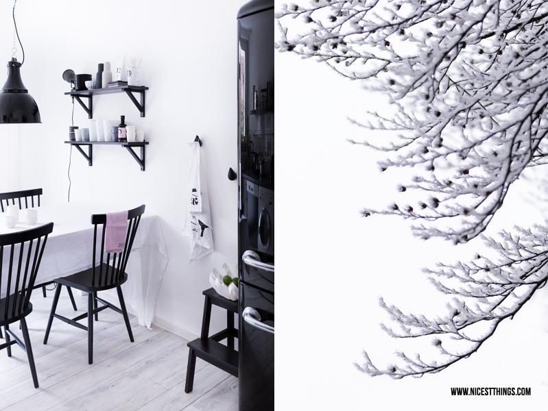 Minimalistische Küche, Zweige mit Schnee