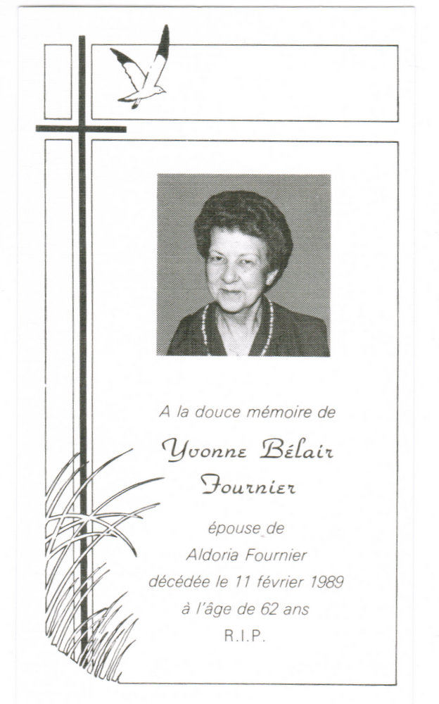 Front view of funeral card of Yvonne Belair Fournier