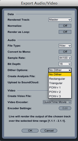 little-scale: Aural Comparison of Ableton Live Dithering Options