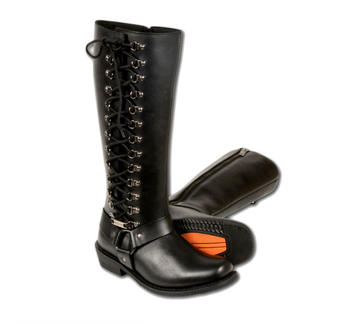 ea972632bb8d WOMENS MOTORCYCLE LEATHER BOOTS 14 INCH WATERPROOF SQUARE TOE