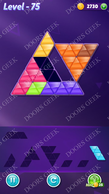 Block! Triangle Puzzle Advanced Level 75 Solution, Cheats, Walkthrough for Android, iPhone, iPad and iPod