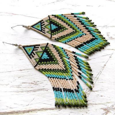 купить серьги из бисера ручной работы купить этнические украшения из бисера