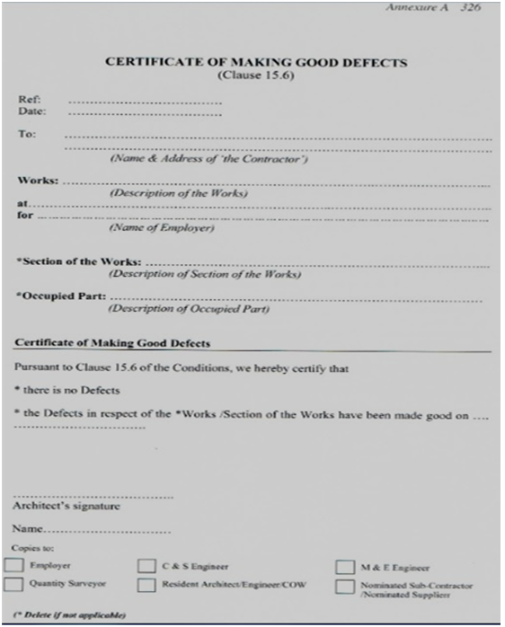 Taylor 39 s bqs e portfolio july 2013 for Jct practical completion certificate template