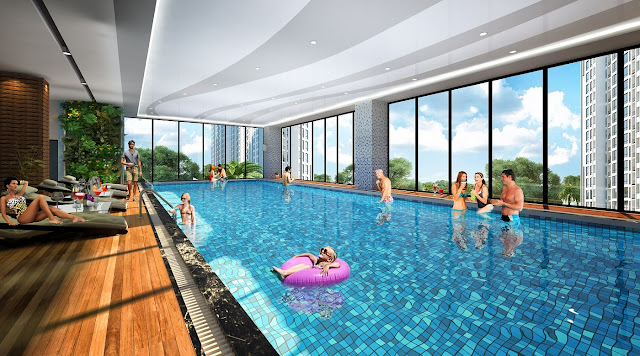 Bể bơi 4 mùa chung cư Iris Garden