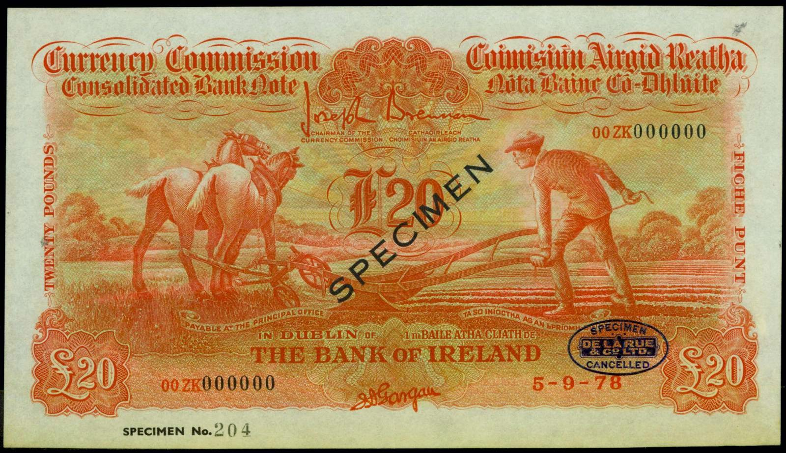 Ireland Currency Consolidated banknotes 20 Pounds Ploughman Note