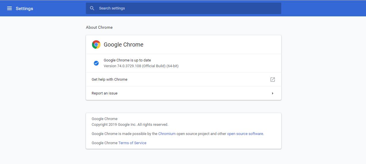 Google Chrome 74.0.3729.108