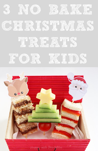 3 No bake treats for Christmas, treats for kids, free christmas printable, nutella recipe for christmas, cucumber christmas tree