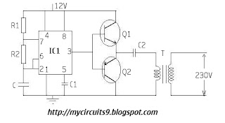 Inverter circuit using 555 timer IC