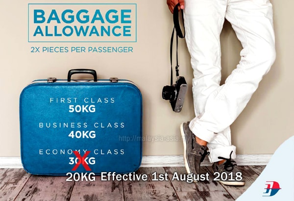 MAS Domestic Flight New Baggage Allowance
