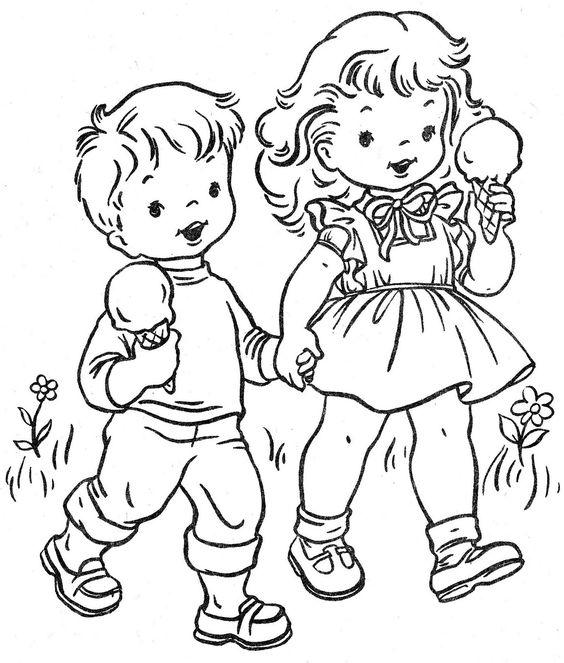 Tranh cho bé tô màu đôi bạn ăn kem