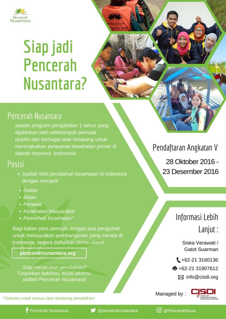 Pendaftaran Pencerah Nusantara Angkatan V Tahun 2016