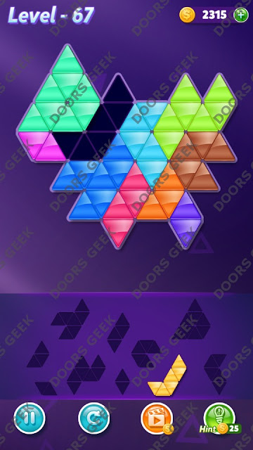 Block! Triangle Puzzle 10 Mania Level 67 Solution, Cheats, Walkthrough for Android, iPhone, iPad and iPod