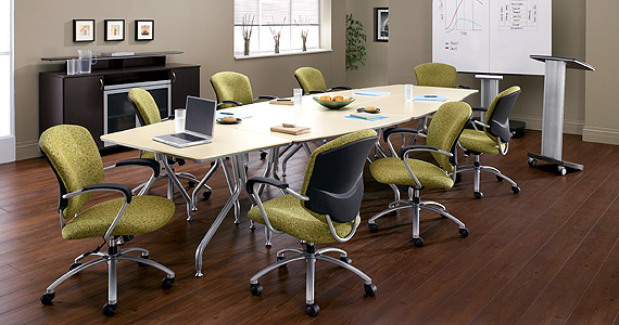 Ván lót sàn vân gỗ rất phong cách trong phòng họp