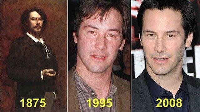 The man in the portrait and Keanu Reeves