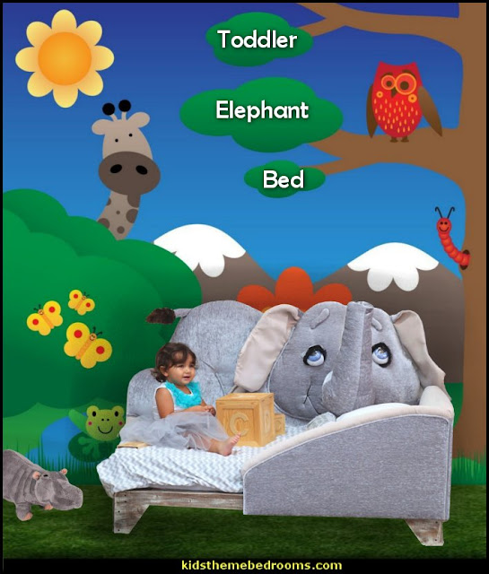 elephant toddler bed jungle bedroom - jungle baby bedrooms - jungle theme nursery decorating ideas - jungle wall murals - toddler jungle bedroom ideas - jungle animal decor - Jungle theme nursery - jungle theme nursery decals - Jungle wall stickers - 3D safari wall art decor - jungle theme nursery curtains - elephant shaped toddler bed - elephant headboard - Jungle Animals Wall Decals