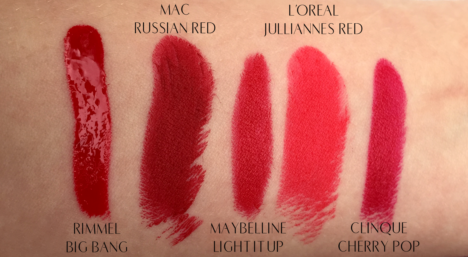 Top 5 Festive Red Lips For Christmas Clinique Cherry Pop Rimmel Big Bang Maybelline Light It Up MAC Russian Red L'Oreal Jullianne's Red Swatches
