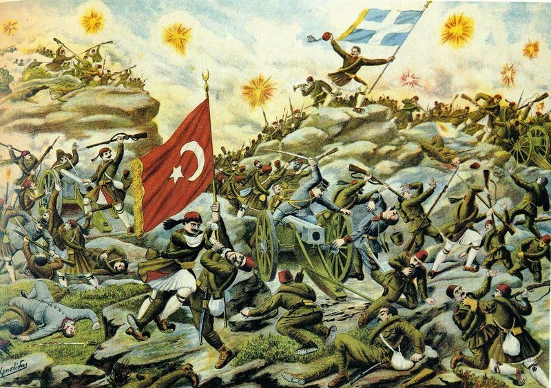 Depiction of the Battle of Sarantaporos during the First Balkan War