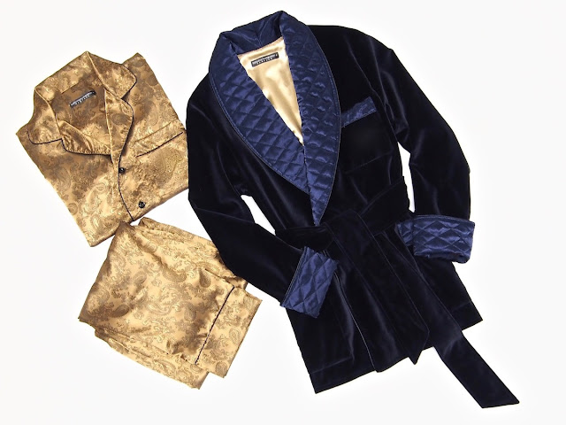 mens velvet smoking jacket quilted silk robe blue gold dressing gown warm lined