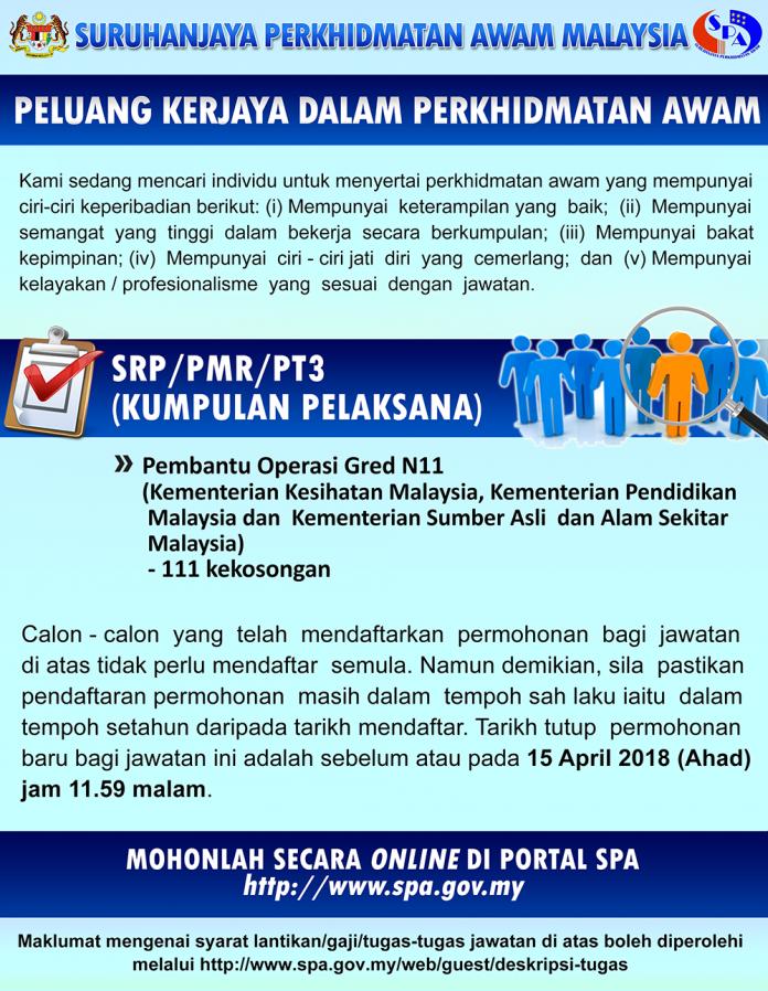 Jawatan Kosong Terkini Di Suruhanjaya Perkhidmatan Awam Spa April 2018 Appjawatan Malaysia