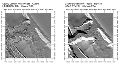 Digital surface model and digital terrain model of Dene Mouth , Horden