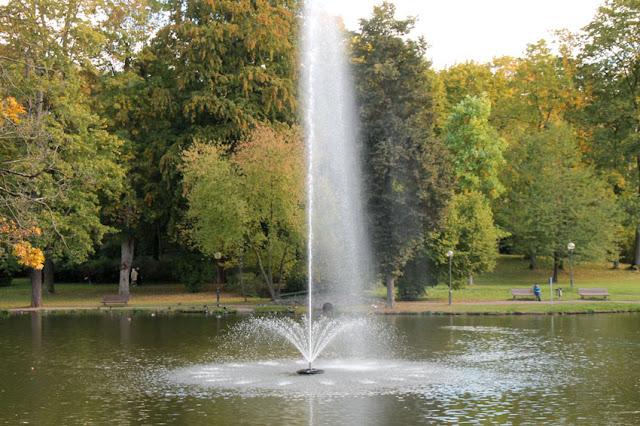 Teichfontäne / Springbrunnen auf dem Teich im Englischen Garten in Meiningen
