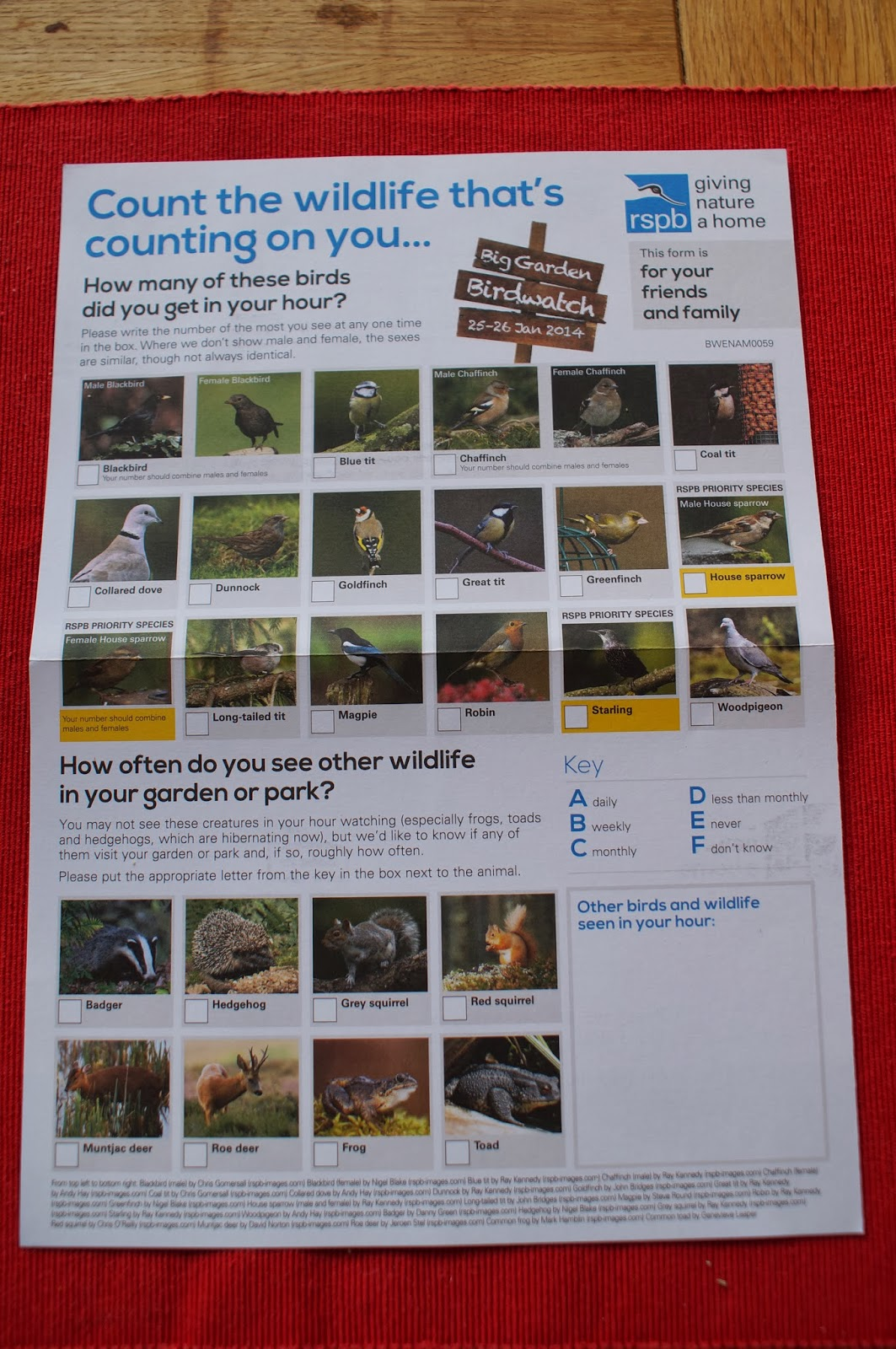 RSPB Big Garden Birdwatch form - 'Grow Our Own' Allotment Blog