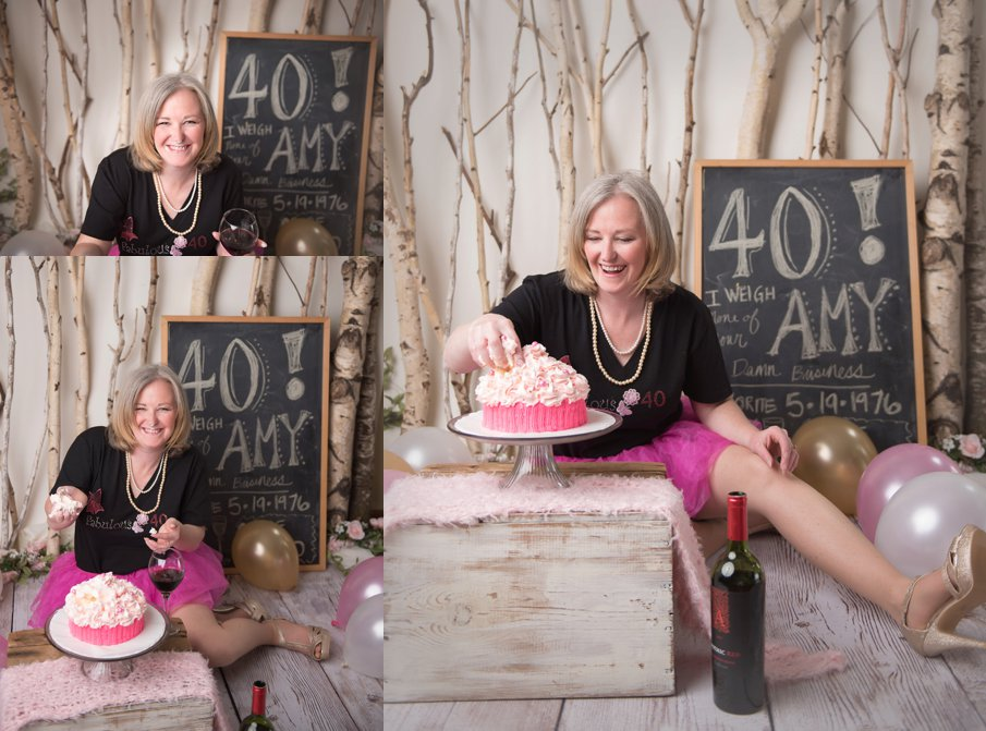 Pink Adult cake smash 40 year old birthday