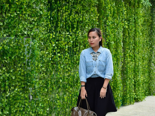 Outfit Diary : Denim shirt + modified skirt | Lil brother