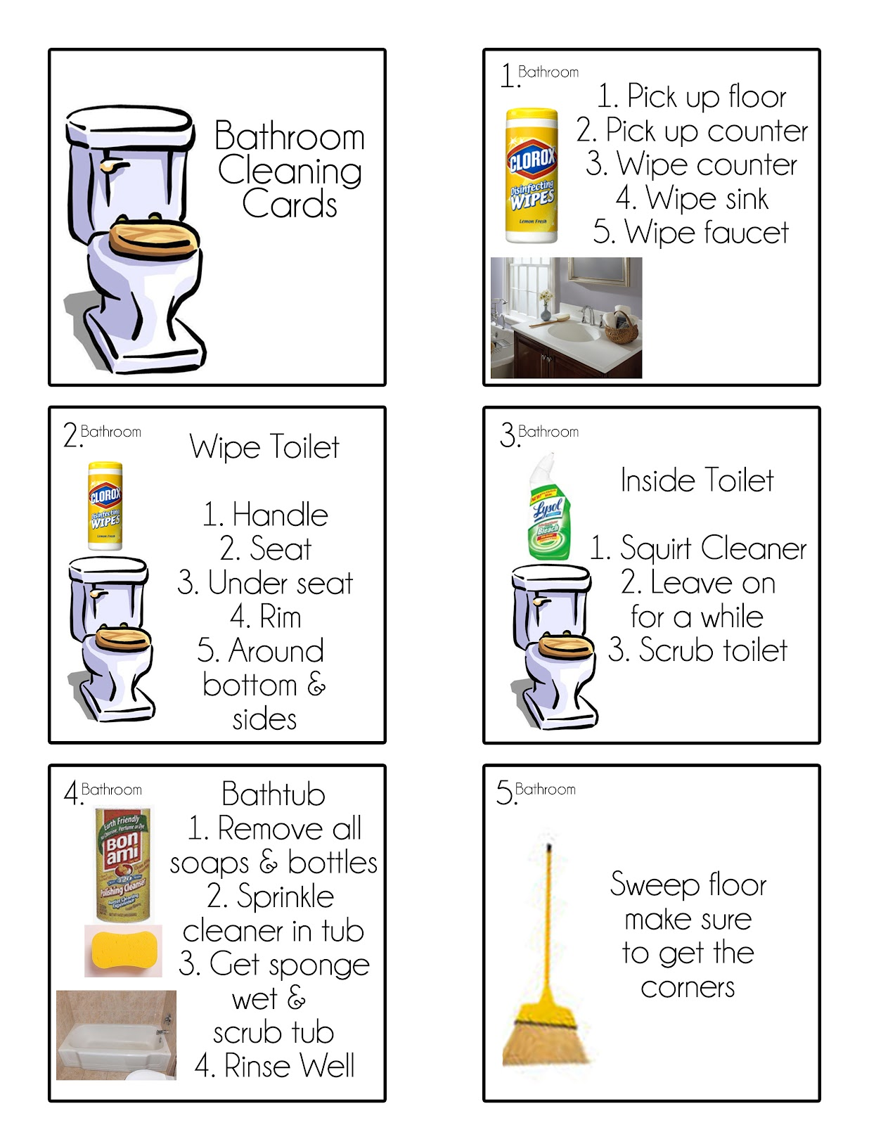 Chore Cards Chore Flip Charts