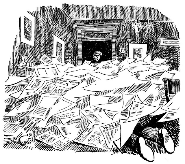 A 1909 cartoon about a man who reads too many newspapers