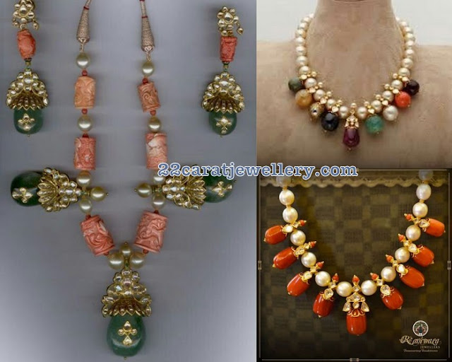 Fancy Coral Beads Short Necklaces