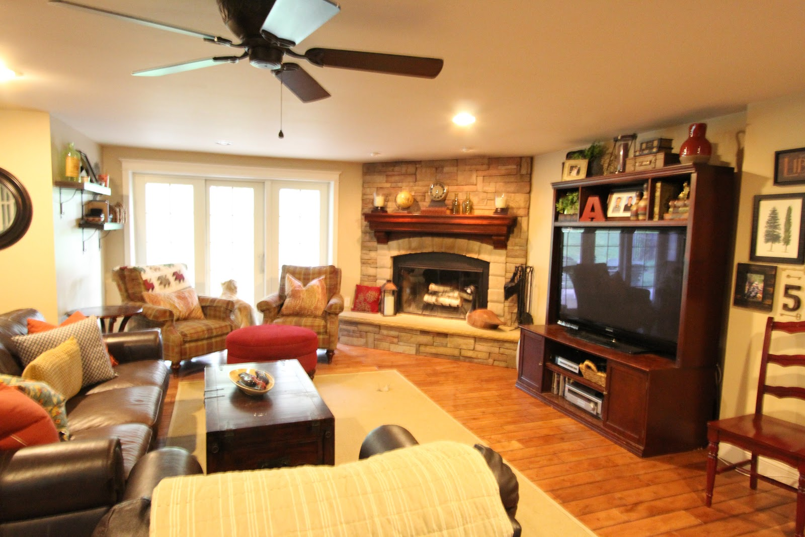 Our Family Friendly Family Room | Golden Boys and Me - Corner Fireplace Family Room Photos