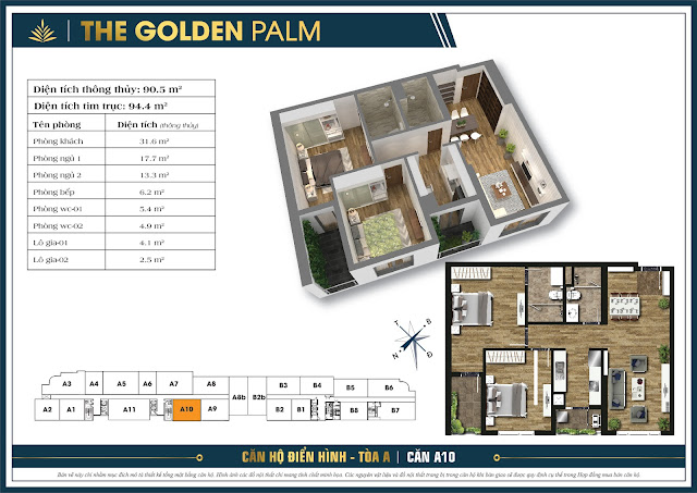 Căn A10 - 90m - The Golden Palm