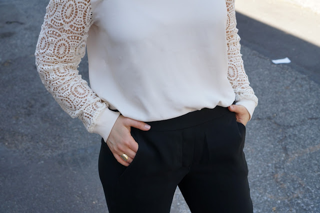 lace sleeved top, drapey trousers