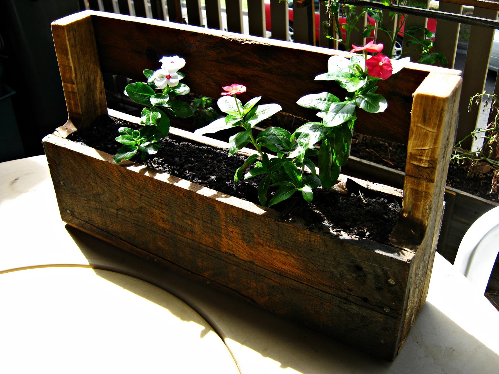 A Planter Box I Created While Ago It Is Just Section Of Wood Pallet With Base Nailed On Sanded And Stained Linseed Oil