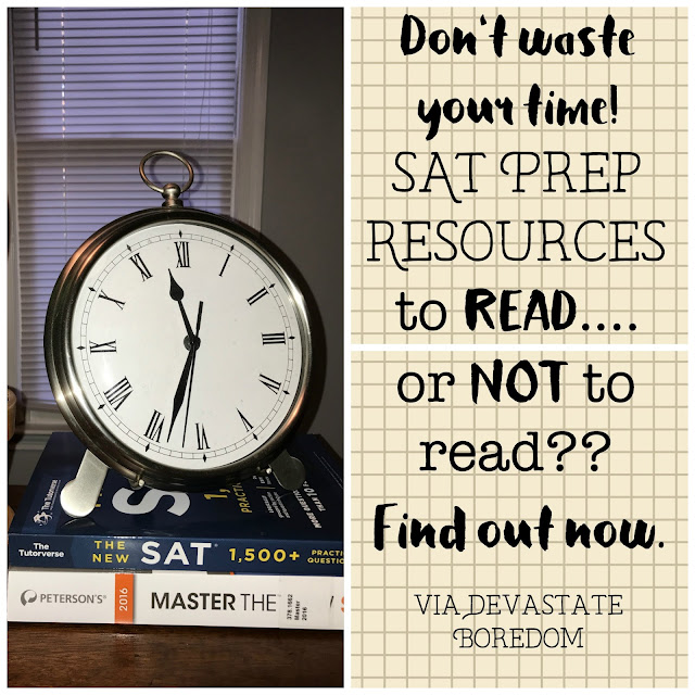 Great info for your high school student! - SAT prep book reviews -- Tutorverse's The New SAT workbook vs Peterson's Master the New SAT 2016 -- READ or DON'T Read??  Recommendations for the best study guide to prepare for the SAT, including practice tests and material, tips, and more! via Devastate Boredom