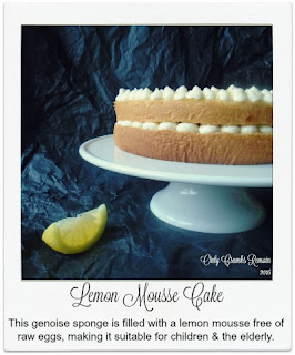 This light and refreshing cake is made with a genoise sponge which is filled with a lemon mousse.  The mousse, being free of raw eggs, is suitable for young children, the elderly and those who may be convalescing having been made with aquafaba.