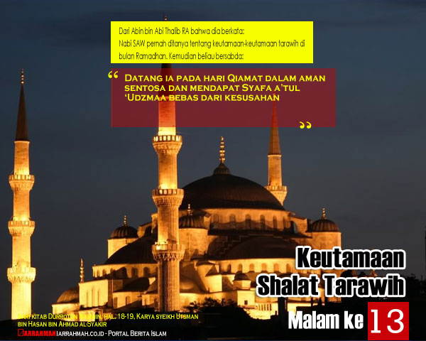 Keutamaan Sholat Tarawih Malam Ketigabelas Ramadhan