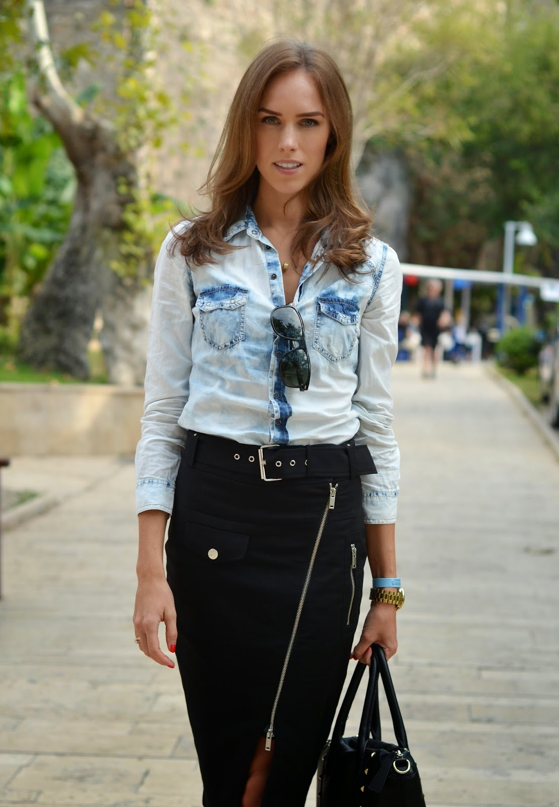 pimkie-denim-shirt-jean-paul-gaultier-skirt kristjaana mere