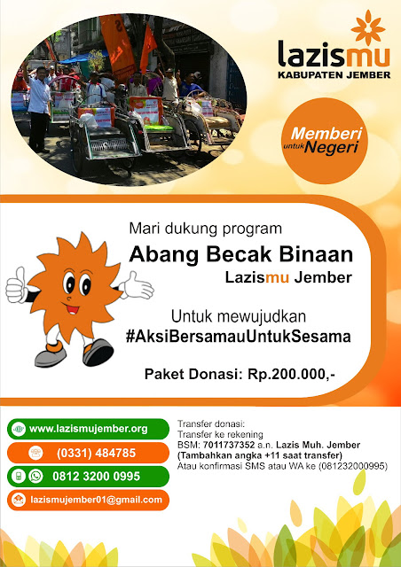 Program Abang Becak Binaan Lazismu Jember