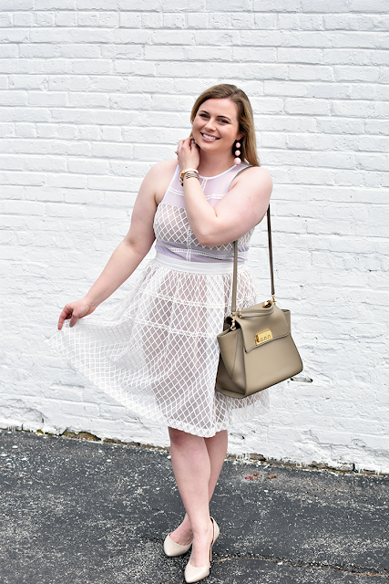 easter dress under 100 donna morgan lace dress sheer overlay illusion dress bcbg nude pumps baublebar crispin earrings zac posen eartha satchel hermes clic h bracelet david yurman cable bracelet