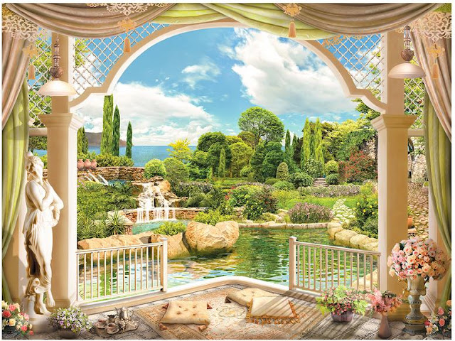 Garden wall murals 3D wallpaper living room bedroom Flower Garden green plants photo wallpaper bonsai View