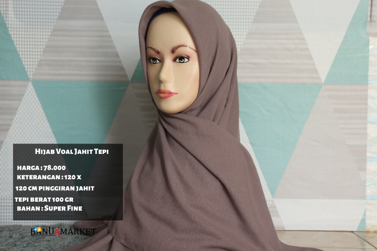 Hijab Voal Jahit Tepi