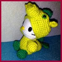 Kitty dragón verde amigurumi