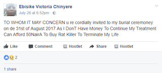 Due To Lack Of Funds For Treatment A Lady invites everyone to her burial